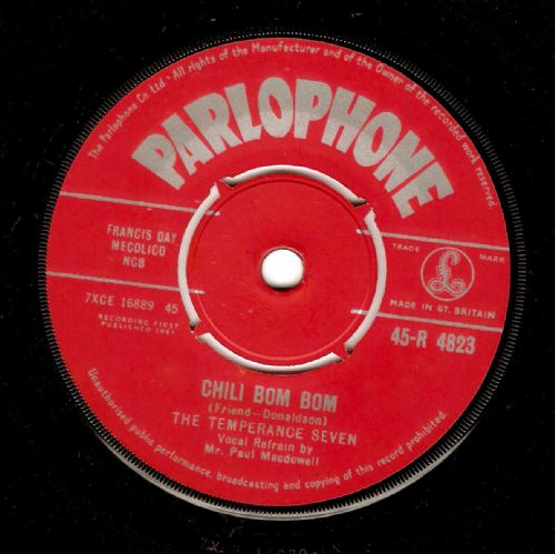 THE TEMPERANCE SEVEN Chili Bom Bom Vinyl Record 7 Inch Parlophone 1961